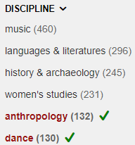OneSearch Discipline limit with anthropology and dance checked off