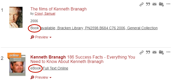 First two OneSearch results, showing a title of physical book and then an eBook.