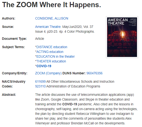 "Full record of the article titled ""The Zoom Where It Happens."""