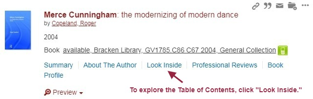 "OneSearch record for a book about Merce Cunninham, pointing to the ""Look Inside"" link"