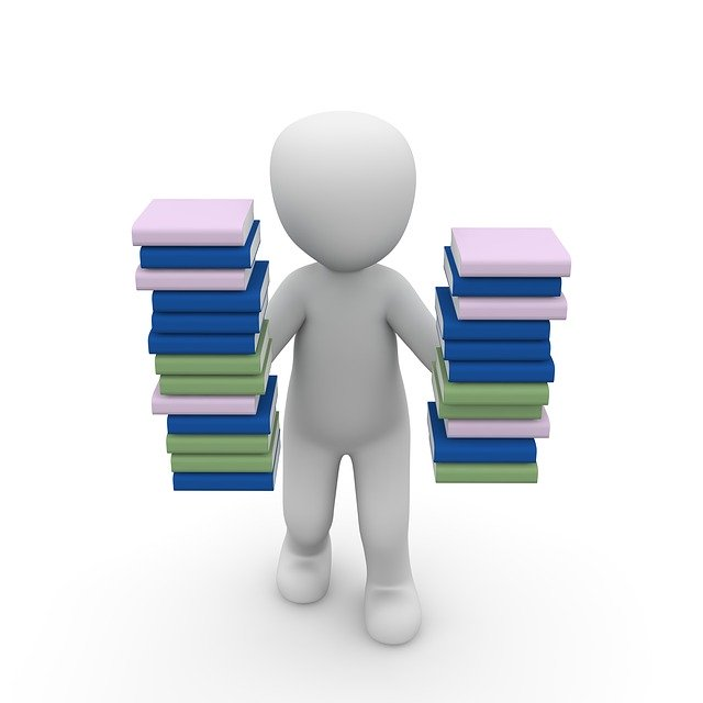 person holding two stacks of books