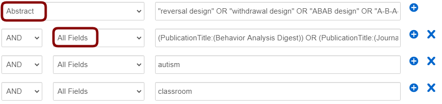 screenshot of a OneSearch Advanced Search form with terms typed in as outlined above