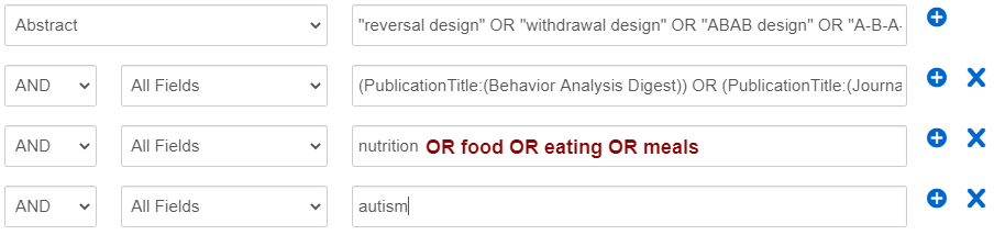 """screenshot of OneSearch advanced search screen with synonyms of """"food OR eating OR meals"""" next to the word """"nutrition"""