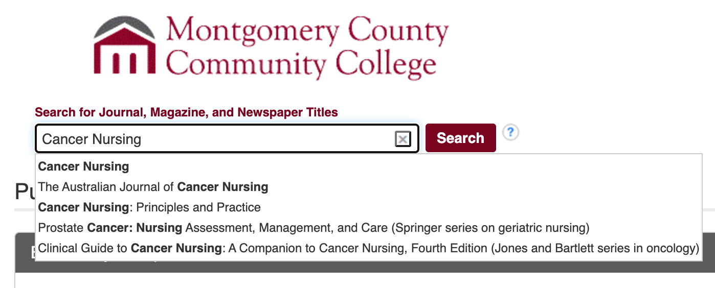 search for cancer nursing