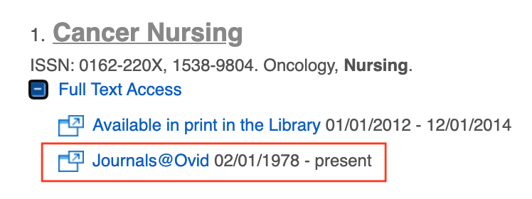 cancer nursing full text access