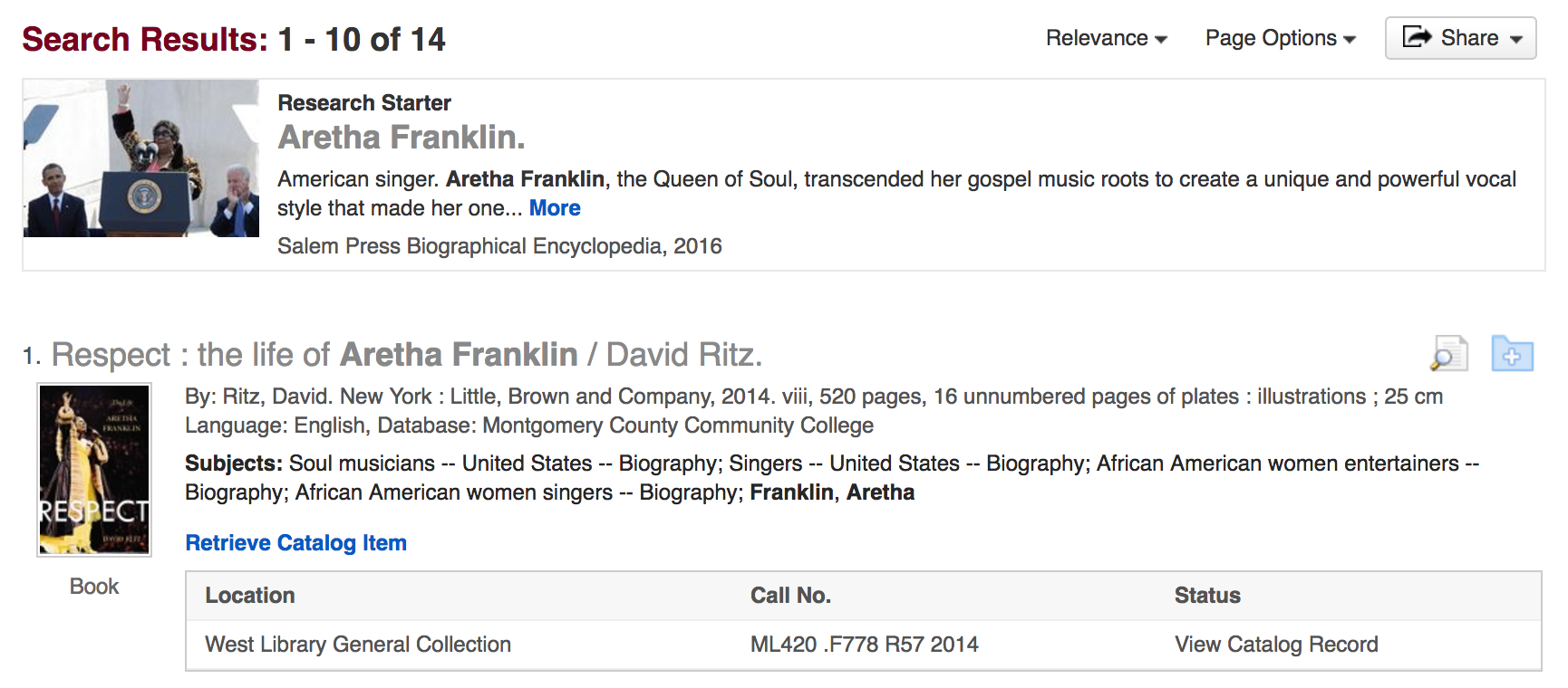 aretha franklin search results