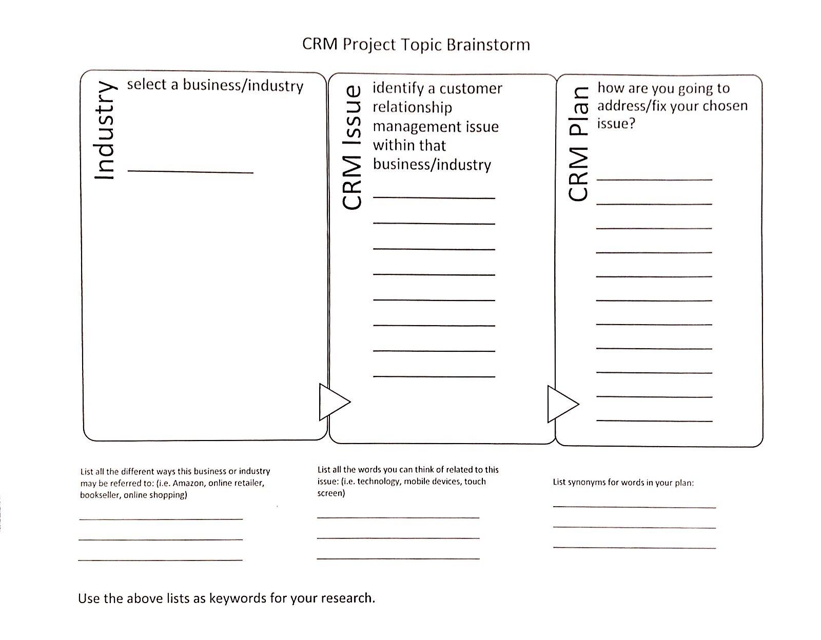 Topic Brainstorm Worksheet