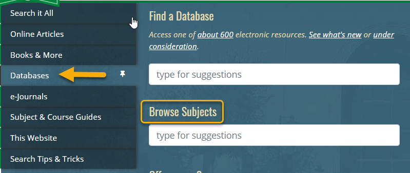 Database browse by subject on library homepage