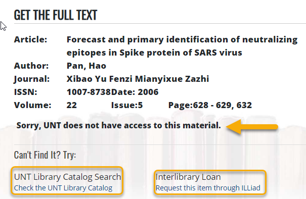 Check UNT Library Catalog screen
