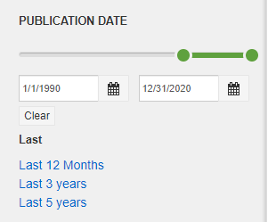 Publication date filter in Online Articles