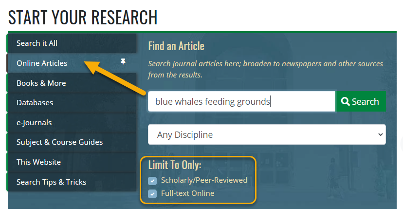 Online Articles search on library's homepage