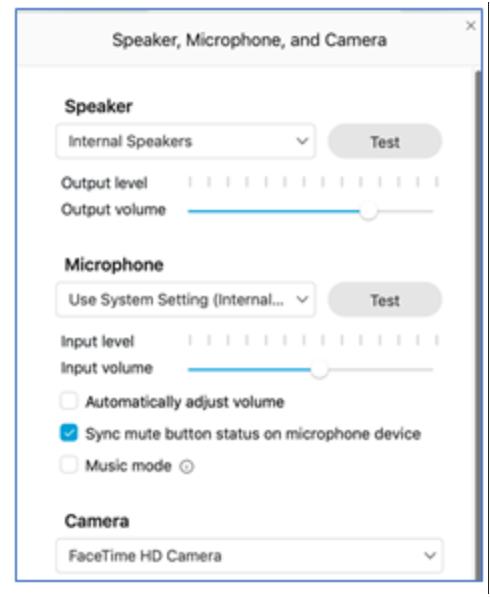 screenshot of Speaker, Microphone, and Camera settings