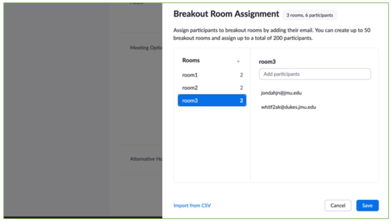 screenshot of breakout room assignment