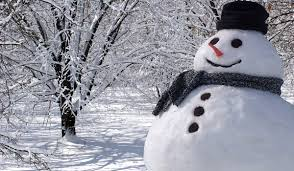 Snowy scene with snowman