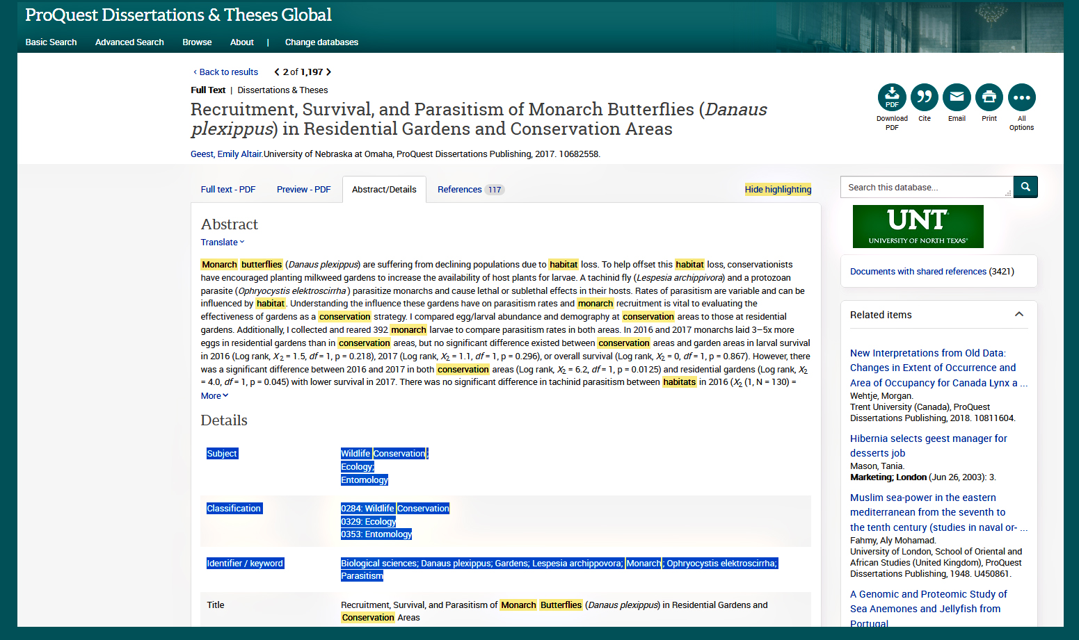 How to use subject, classification and keyword identifiers in Proquest Dissertations and Theses Global.