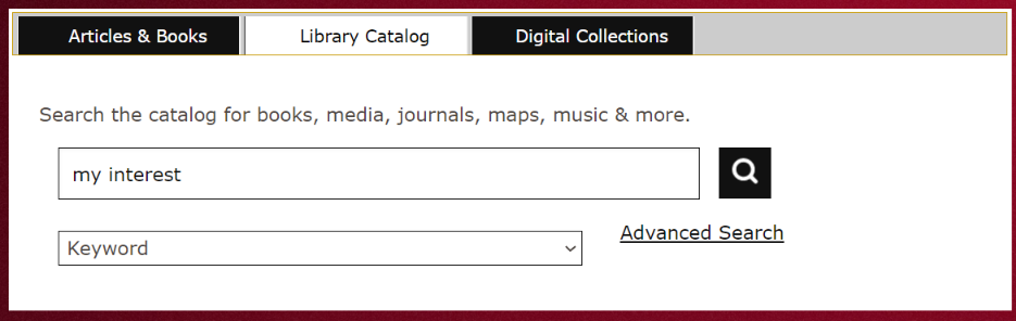 Picture of the Library Catalog tab on the library homepage