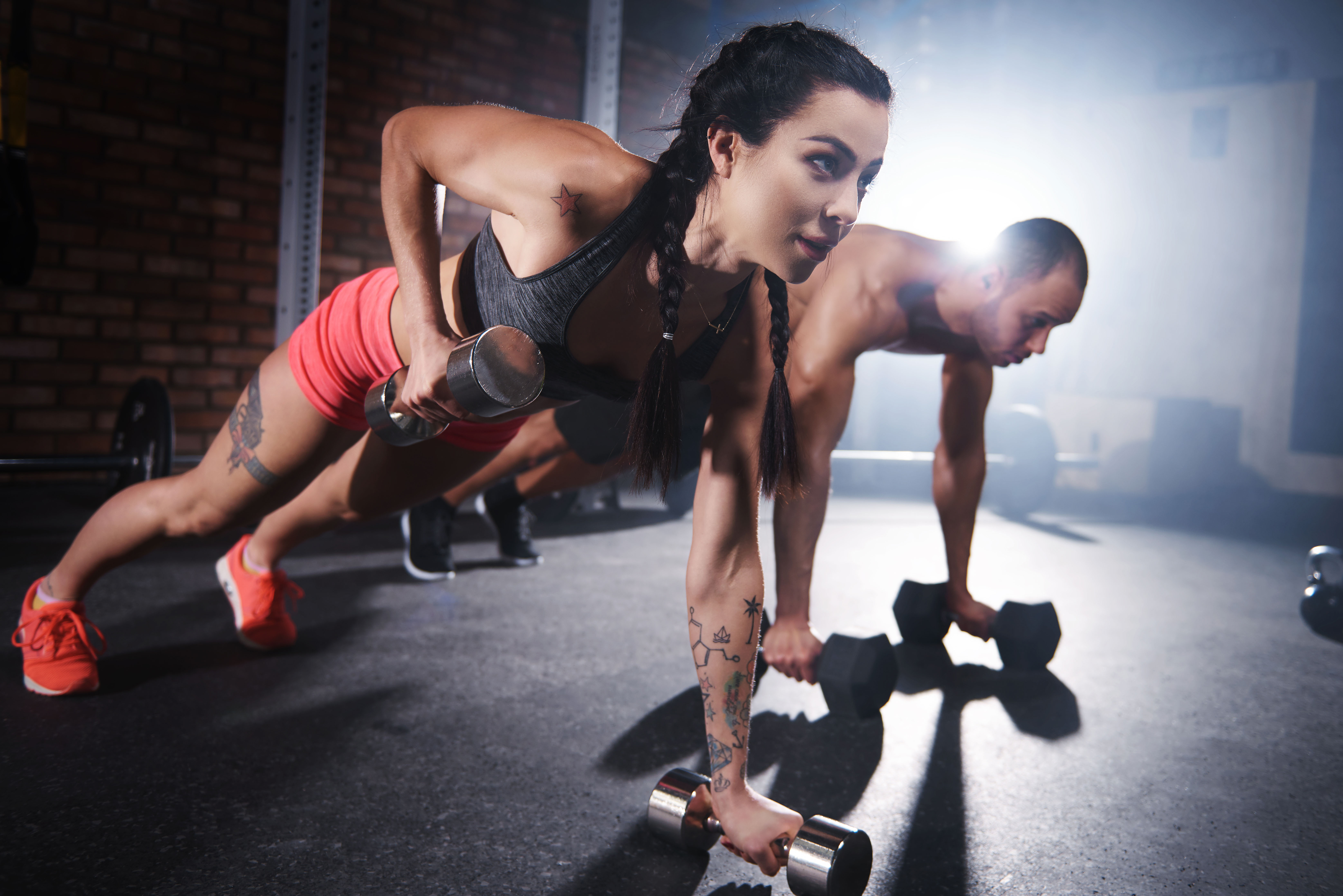 two people doing push ups