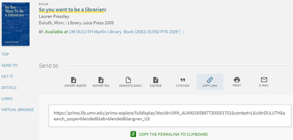 "Interface view of library catalog record showing ""Copy Link"" option"