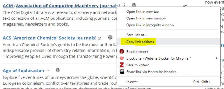 "Find the Link you want to copy, right click (ctrl+click for Mac), select ""Copy Link Address"""