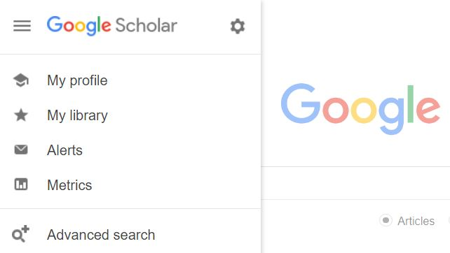 Google Scholar Advance Interface, as indicated by the Gear Box in the Upper Left Hand Corner