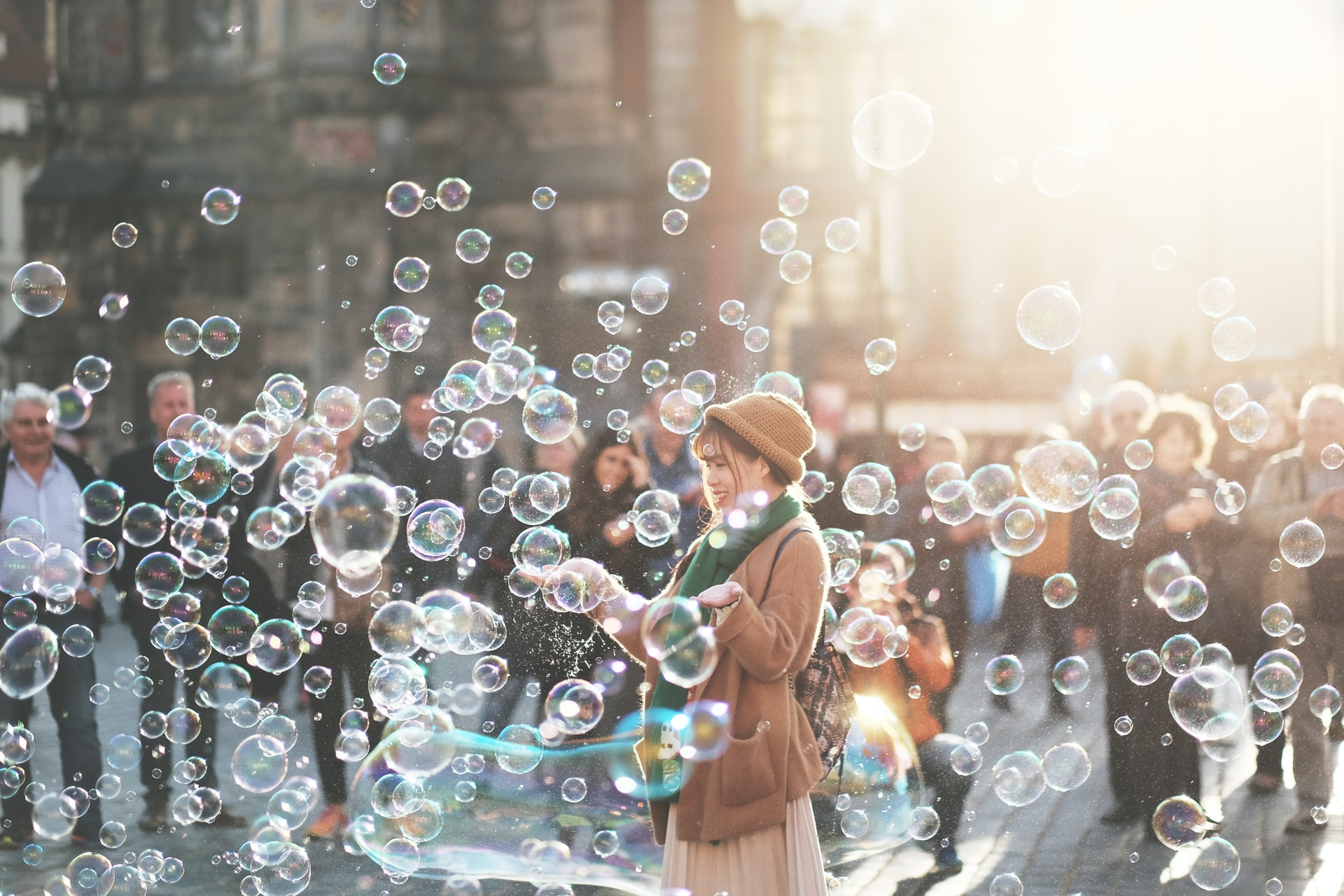 Picture of a woman with lots of bubbles