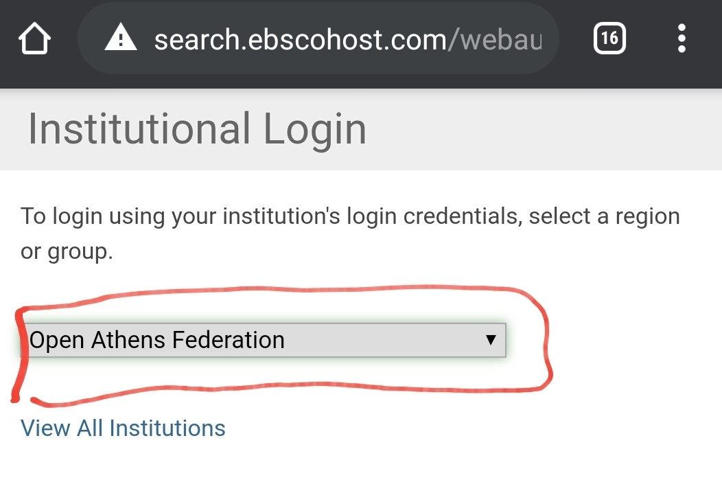 open athens federation selected in dropdown menu