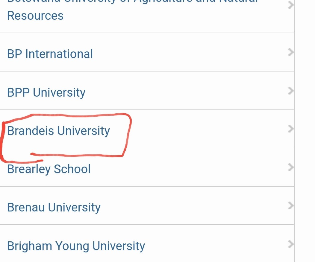 brandeis university selected from list