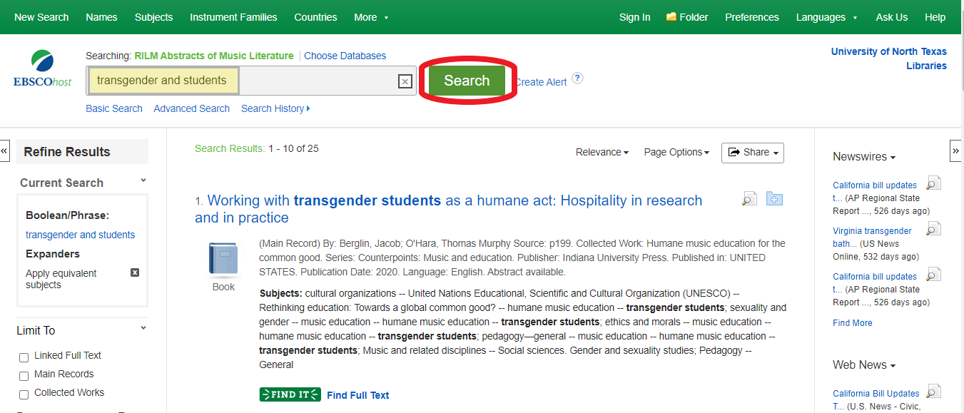RILM search transgender and voices