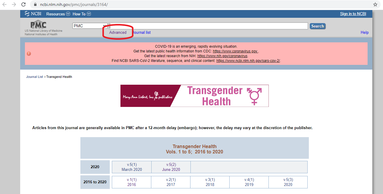 Transgender Health through PubMed