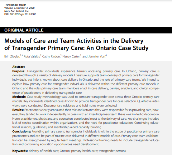 Transgender Health article