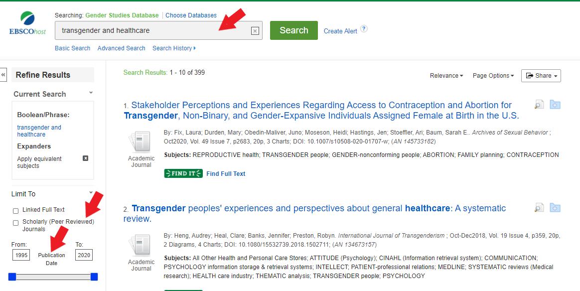 gender studies database search results