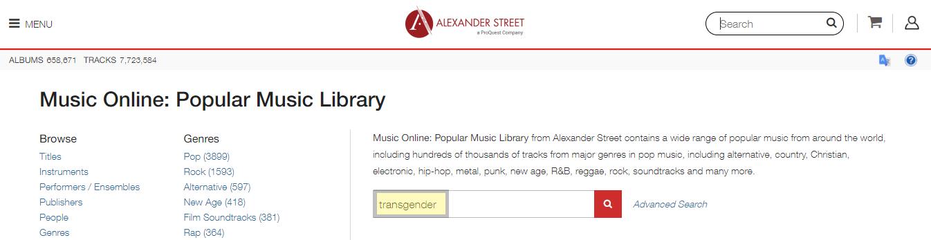popular music library