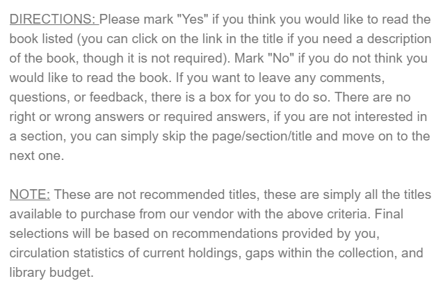 Qualtrics trans book survey directions