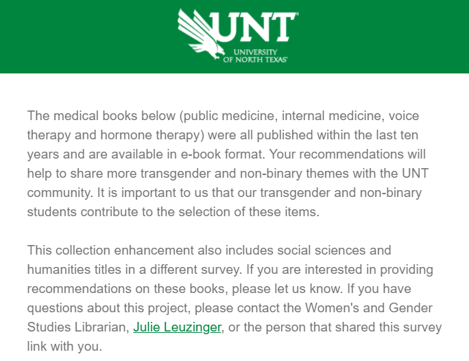 Qualtrics survey on trans medical books
