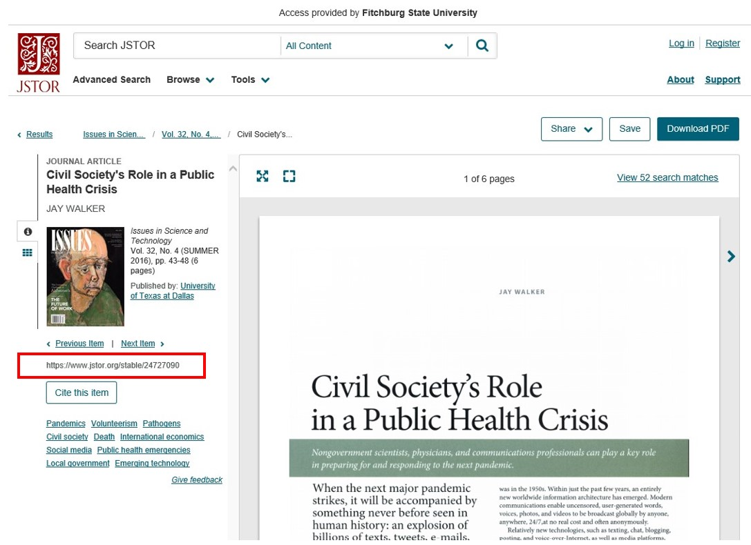 Screen shot of an article's stable URL in JSTOR.