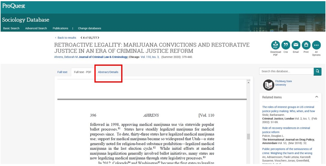 Screen shot of full text article in a Proquest database.