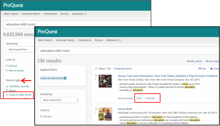 Screen shot showing the results page for the Proquest Central database and how to apply the source type limit for audio and video items.