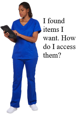 "Image of woman saying ""I found items I want. How do I access them?"""