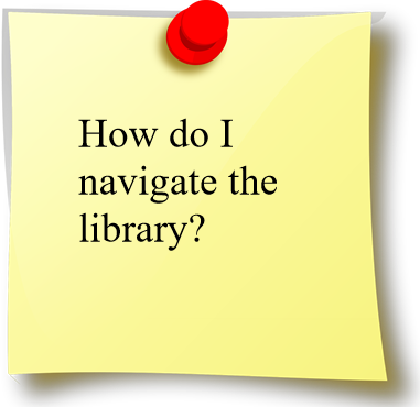 "Image saying ""How do I navigate the library?"""