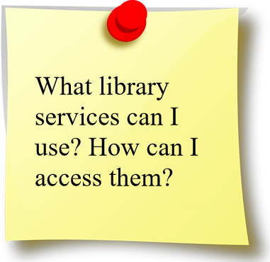 "Image saying ""What library services can I use? How do I access them?"""