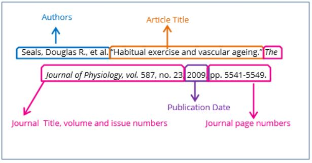 Image of an MLA article citation.