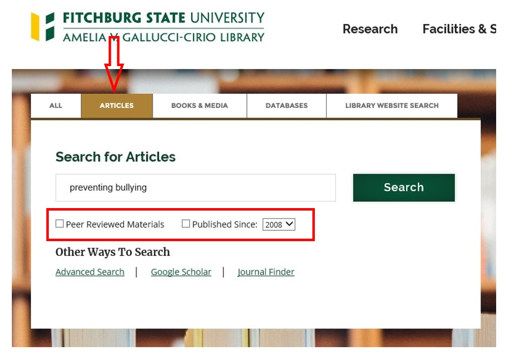 Screen shot of the Articles search tab on the library's home page.