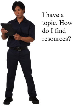 "Image of man saying ""I have a topic. How do I find resources?"""