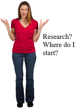 "Image of woman saying ""Research? Where do I start?"
