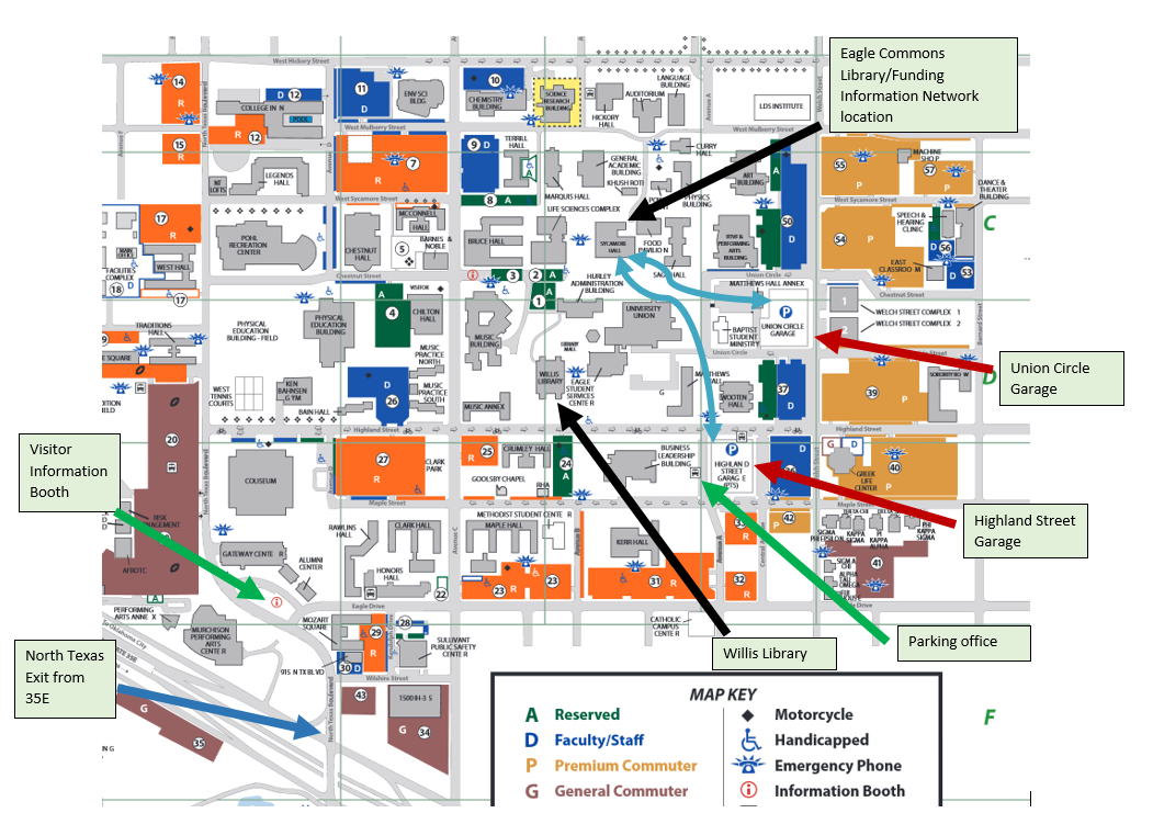 Map of Campus with Parking and Library Locations