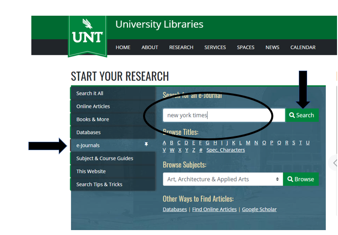 """the library website, with an arrow pointing to the """"e-journals"""" tab and """"New York Times"""" typed into the search box"""