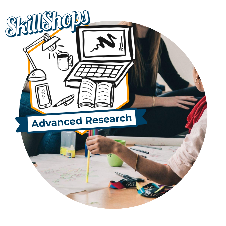 Photo of people sitting and studying with markers and papers spread out and the Advanced Research SkillShops badge in the corner.
