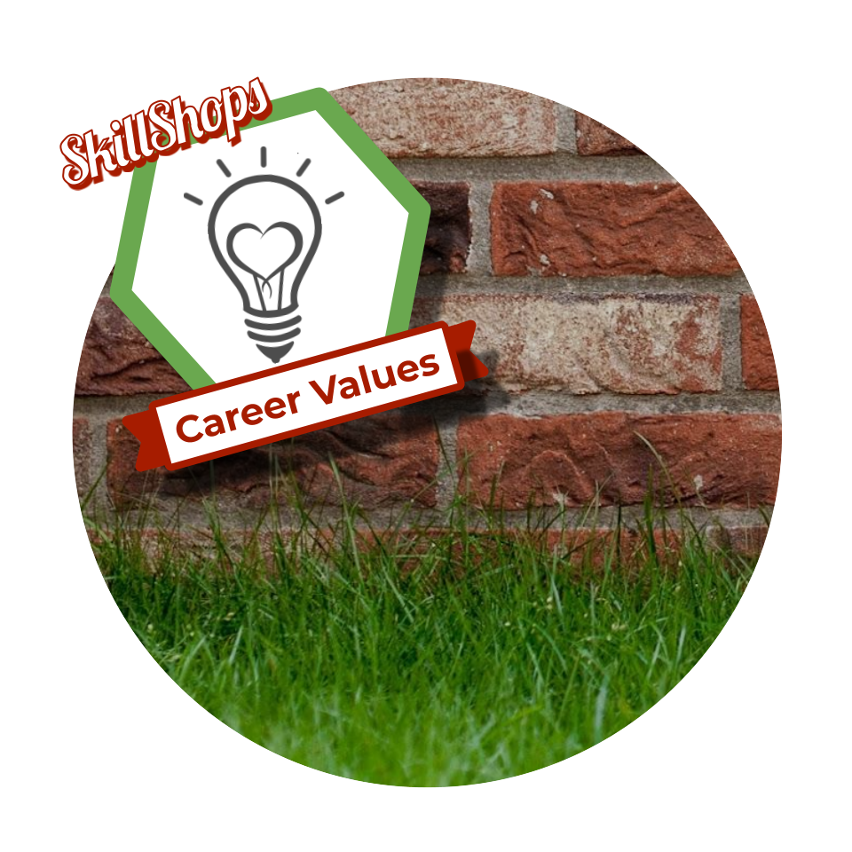Career values badge which is a lightbulb icon with a heart inside over a backdrop of a grass field in front of a brick wall.
