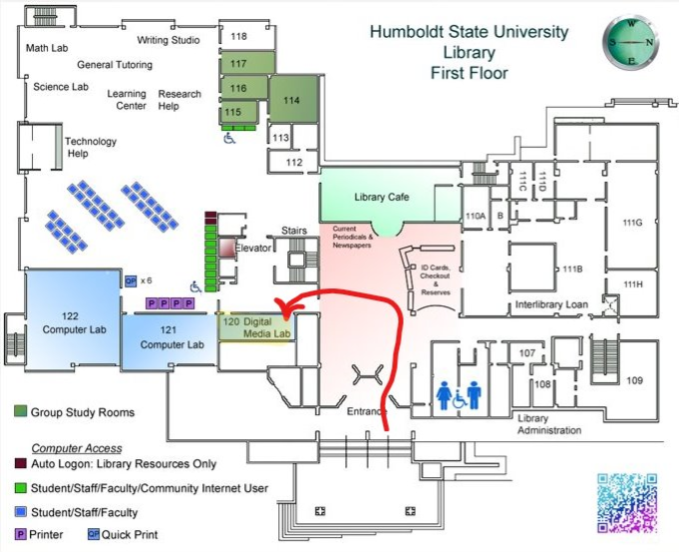Map of the library showing the location of the Digital Media Lab