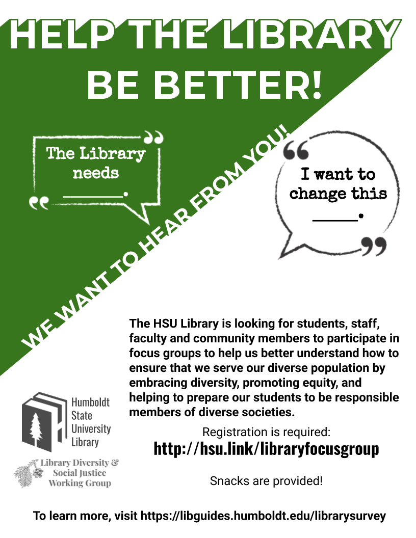 Promotional flyer for library focus groups (same information as on web page).